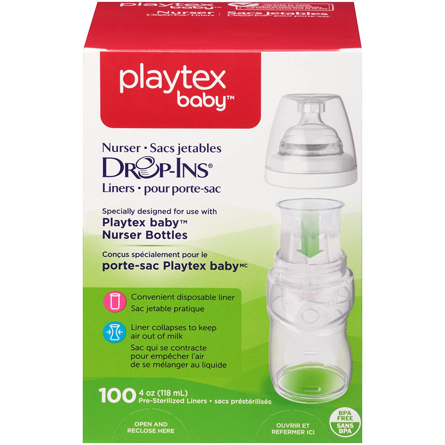 Playtex Baby BPA-Free Nurser Baby Bottles Drop-Ins Disposable Bottle Liners, 4 Ounce, 100 Count (Compatible with Playtex Baby Nurser Bottles, 4 Ounce) 5761