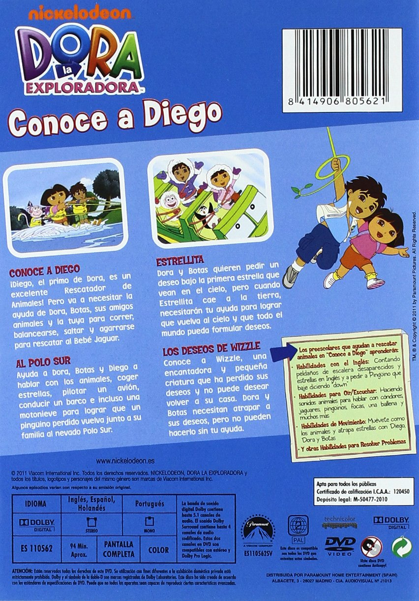 Dora la exploradora: Conoce a Diego [DVD]: Amazon.es: Varios: Cine y Series TV