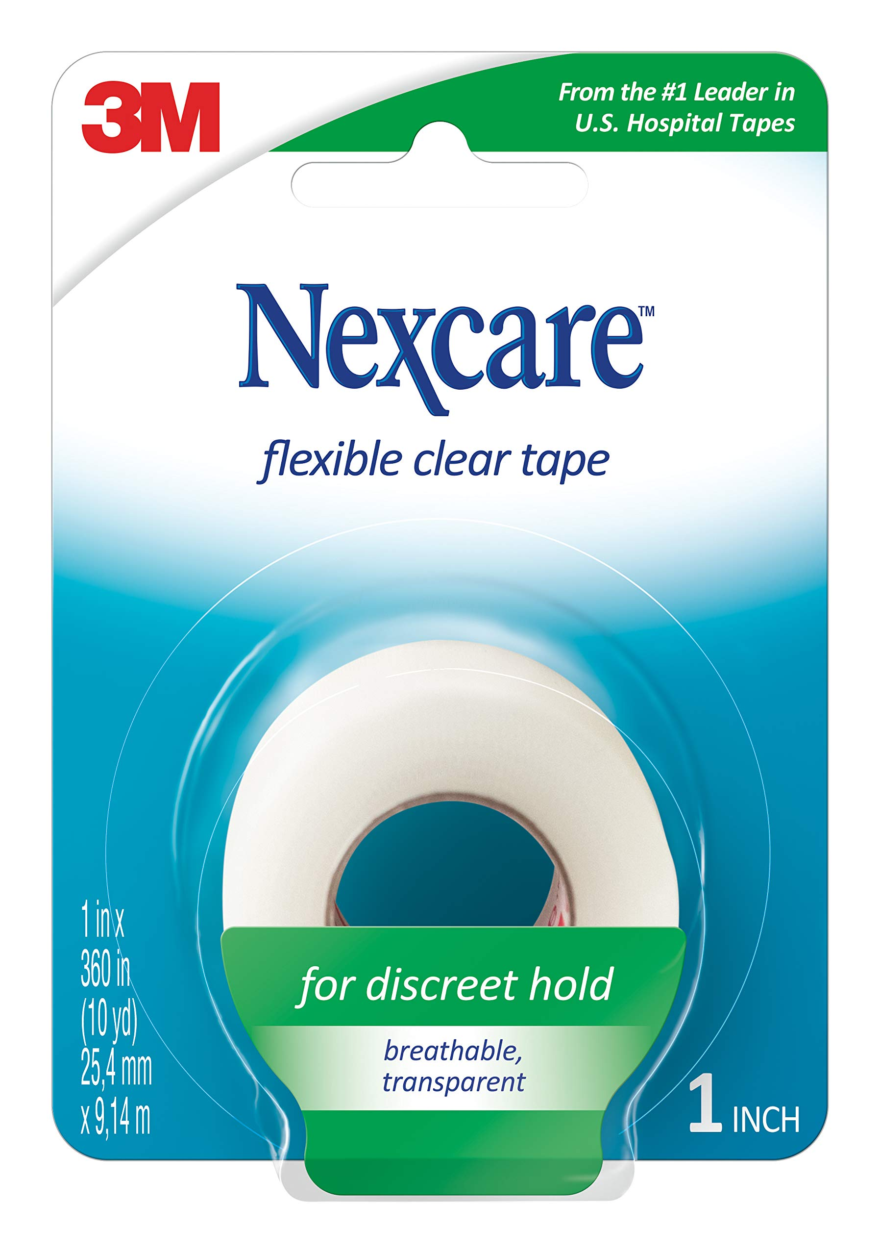 Nexcare Flexible Clear First Aid Tape, Hypoallergenic, Conforms to Body, 1-Inch X 10-Yards (Pack of 24) by Nexcare