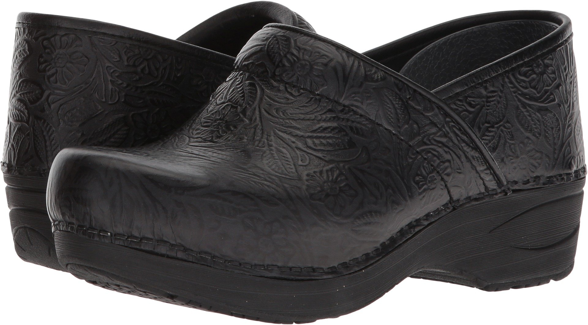 Dansko Women's XP 2.0 Clog Black Floral Tooled 38 Medium EU (7.5-8 US)