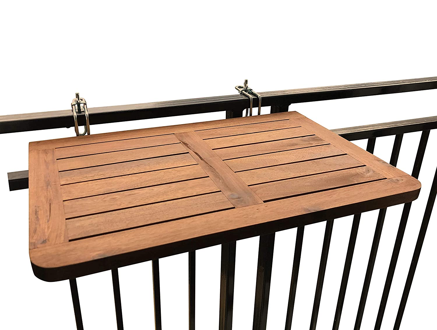 CLICK-DECK Balcony Table HARDWOOD Table Folding Table Hanging Railing Table Dining Garden BBQ Side Table