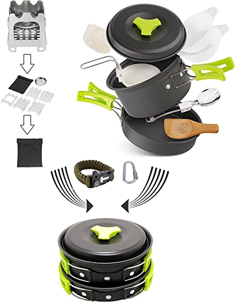 Qunlei - Juego de utensilios de cocina para camping con estufa de madera plegable, aluminio anodizado antiadherente y ligero plegable para camping, ...