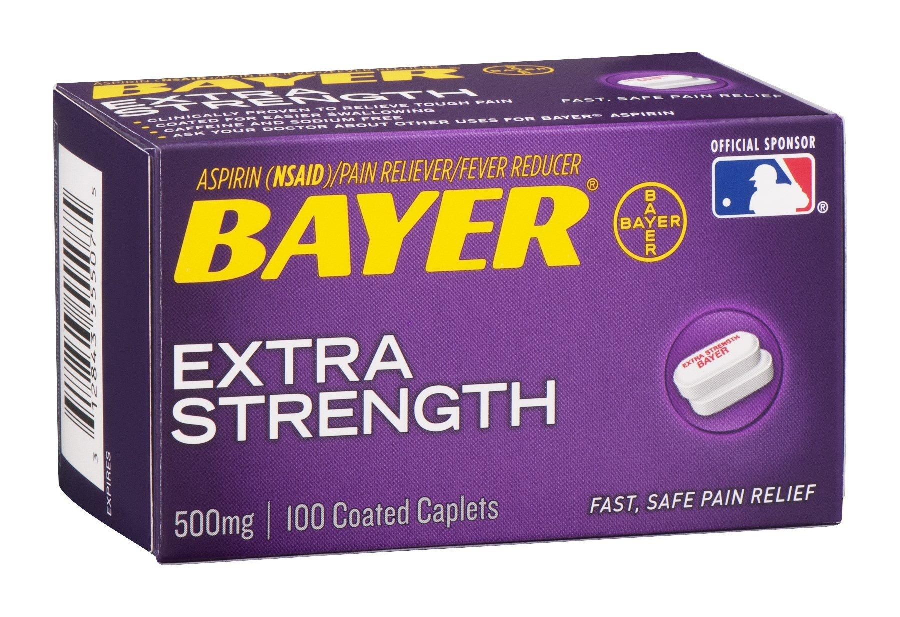 Bayer Extra Strength Aspirin 500 mg, Coated Caplets, 100 ea (Pack of 9)