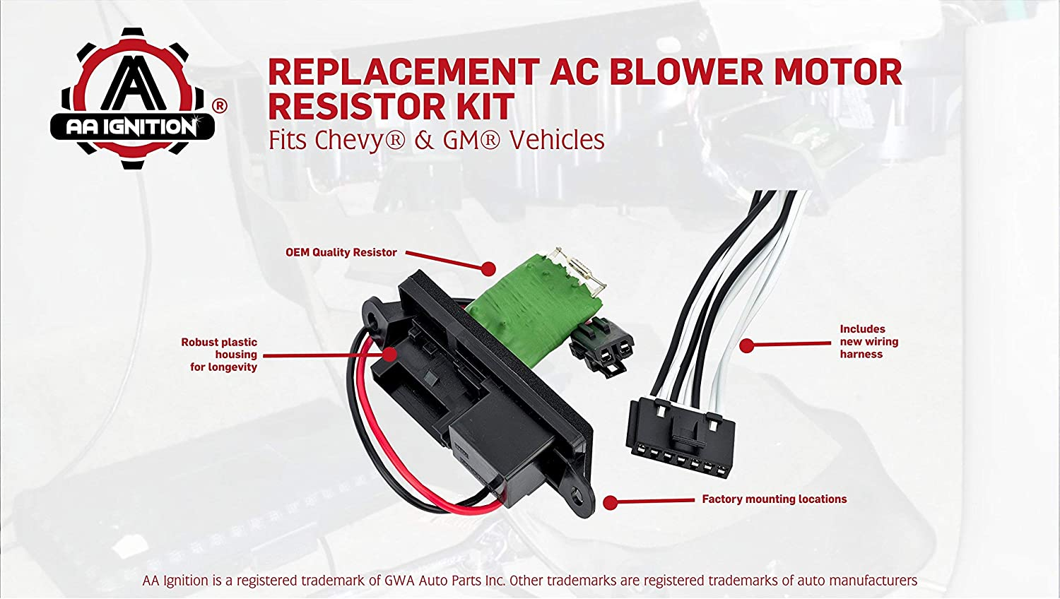 Blower Motor Resistor Complete Kit With Wire Harness For GMC Sierra Yukon Chevy
