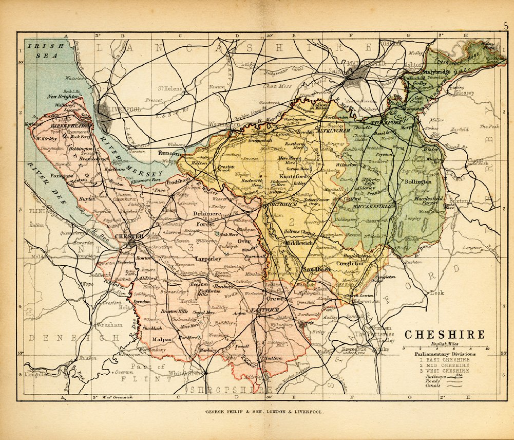 Cheshire Historic Map 1882 Colour Engraved County Of Cheshire