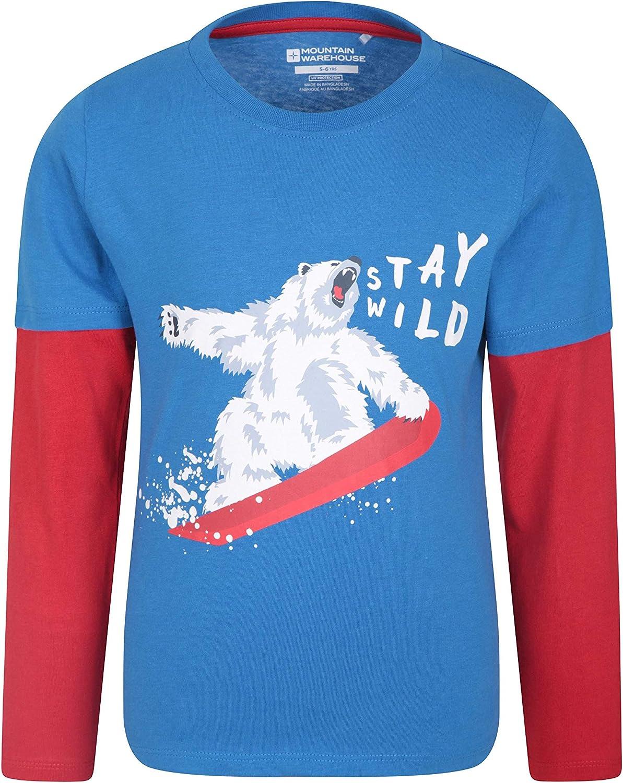 Mountain Warehouse Camiseta Stay Wild para niños - Fibras Naturales, Ligera, Transpirable y de fácil Cuidado - para Senderismo y Aire Libre Azul 13 Años: Amazon.es: Ropa y accesorios