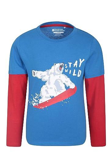 Fibras Naturales Mountain Warehouse Camiseta Stay Wild para ni/ños Transpirable y de f/ácil Cuidado para Senderismo y Aire Libre Ligera