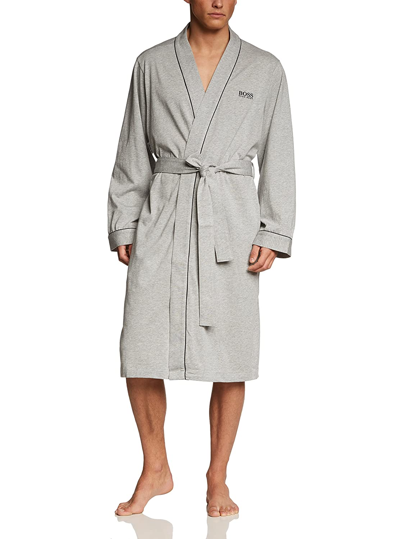 BOSS Hugo Boss Men's Kimono Cotton Robe Gray L 50229070