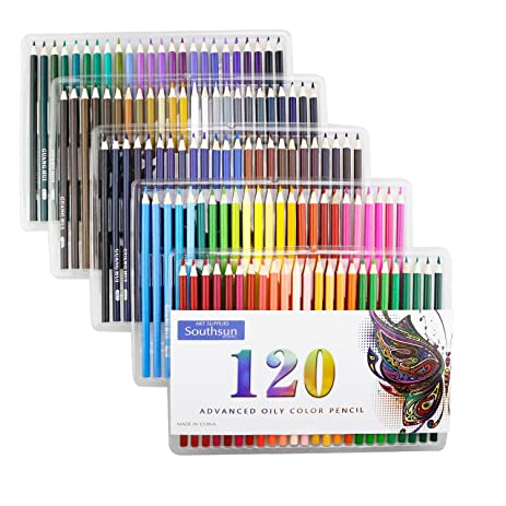 Premium Set Of 120 Assorted Oily Colored Pencils For Adult Coloring Book Artwork New