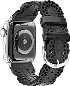 Secbolt Leather Bands Compatible with Apple Watch Band 38mm 40mm iWatch SE Series 6 5 4 3 2 1, Breathable Chic Lace Leather Strap for Women, Black