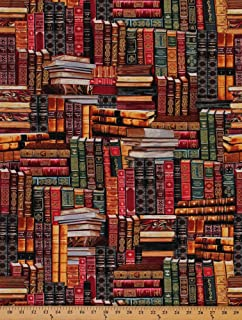 Library Books Book Stack Stacks Libraries Librarian Cotton Fabric Print D57007