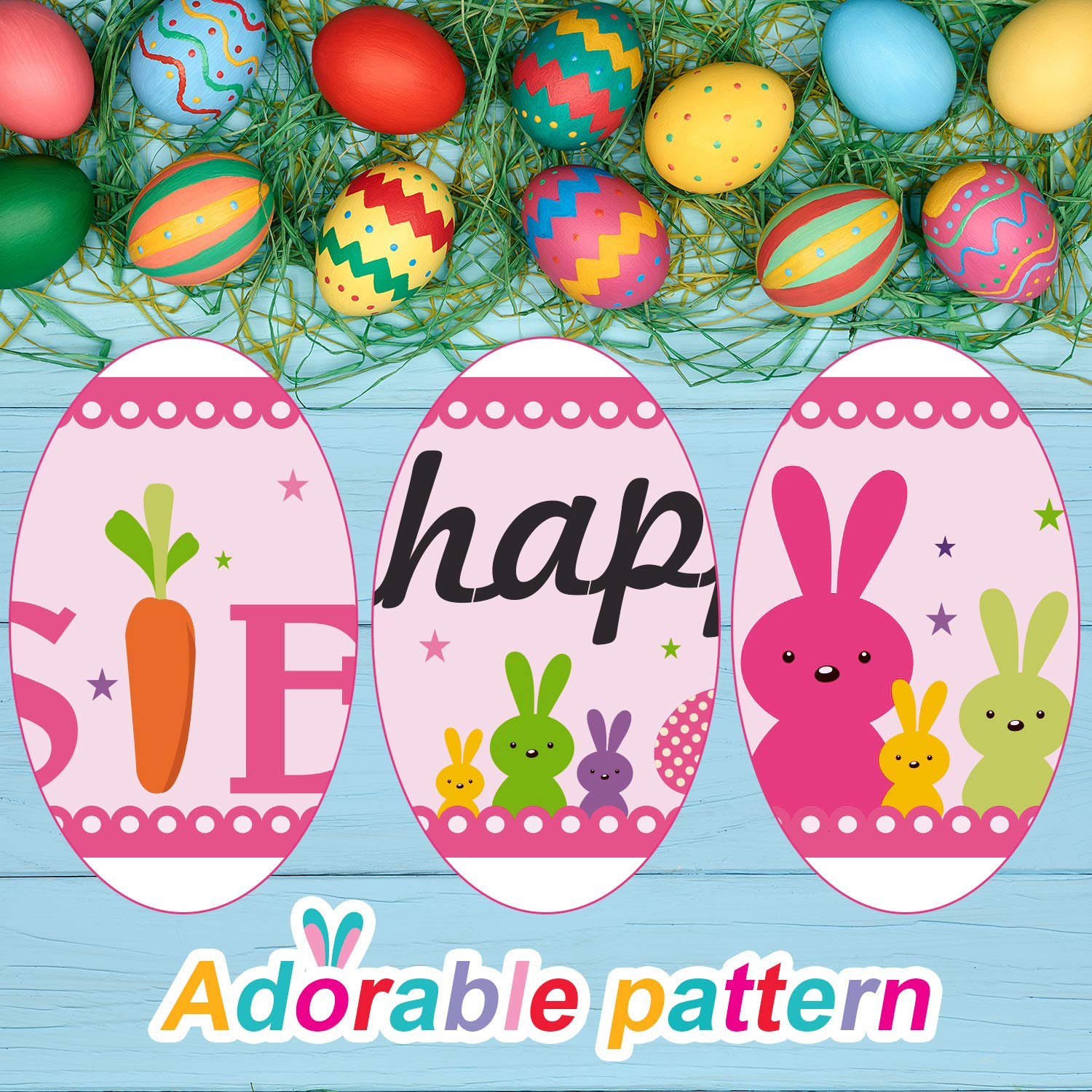 Frienda Happy Easter Banner Decorations Easter Pink Easter Bunny Egg Garland Easter Party Day Suppliers with 20 Glue Point Dots