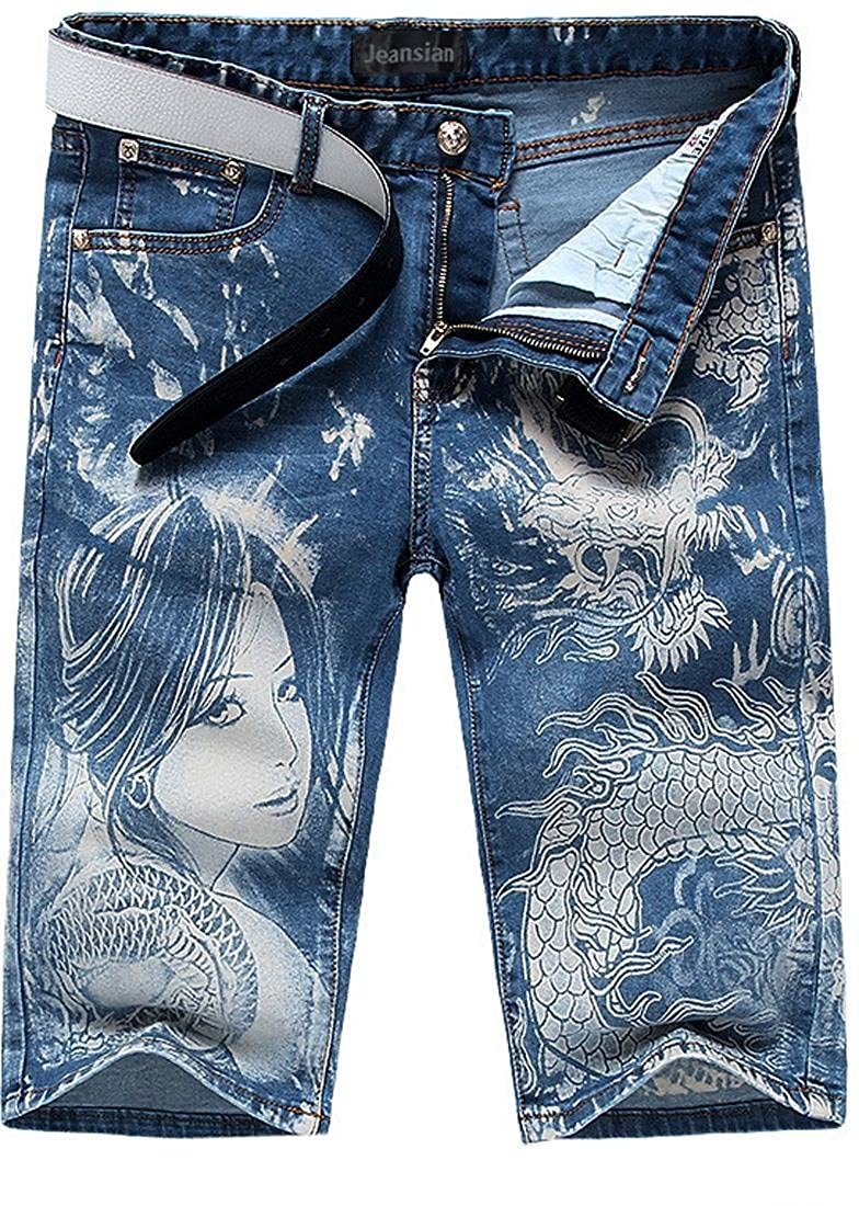 jeansian Men's Washed Knee Length Straight Shorts Pants Denim Jeans MJB071