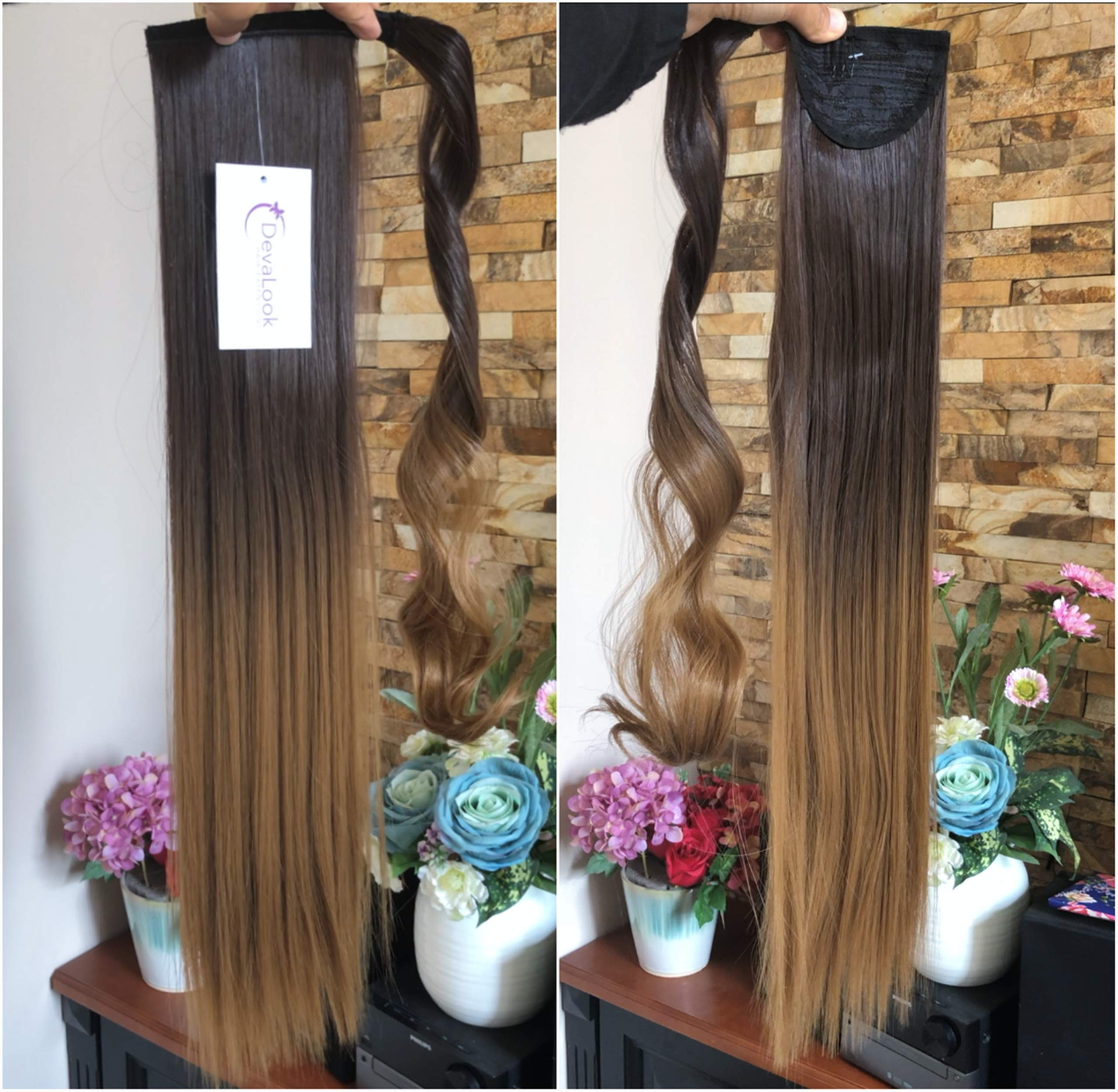 20'' 22'' Long One Piece Straight Curly Wavy Clip in Wrap around Ombre Ponytail Hairpieces (22'' Straight-Dark brown to dark blonde) by DevaLook Hair Extension