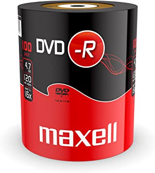 Maxell DVD-R 4.7GB 100 Pack 4,7 GB 100 Pieza(s) - DVD+RW vírgenes (4,7 GB, DVD-R, 120 mm, 100 Pieza(s), 120 min, Eje): Amazon.es: Informática
