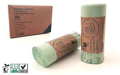 Plantvibes ® Bolsas de Basura compostables 100 Bolsas de Basura orgánicas | 100% Certificado Biodegradable | Bolsa de Basura (30L)