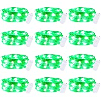 St. Patrick's Day 12 Pack Led Fairy Lights Battery Operated String Lights Waterproof Silver Wire 7 Feet 20 Led Firefly…