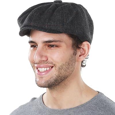 Belt Bear Mens Winter Soft Lined Knit Wool Newsboy Cap Adjustable Ivy Flat Cap