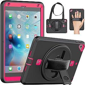 SEYMAC iPad Mini 5 Case 2019 5th Generation iPad Mini, iPad Mini 4 Protective Stand Case Rugged Shockproof Sturdy Cover with Screen Protector 360 Hand Strap for 7.9 inch iPad Mini 5/ Mini 4 Black/Pink