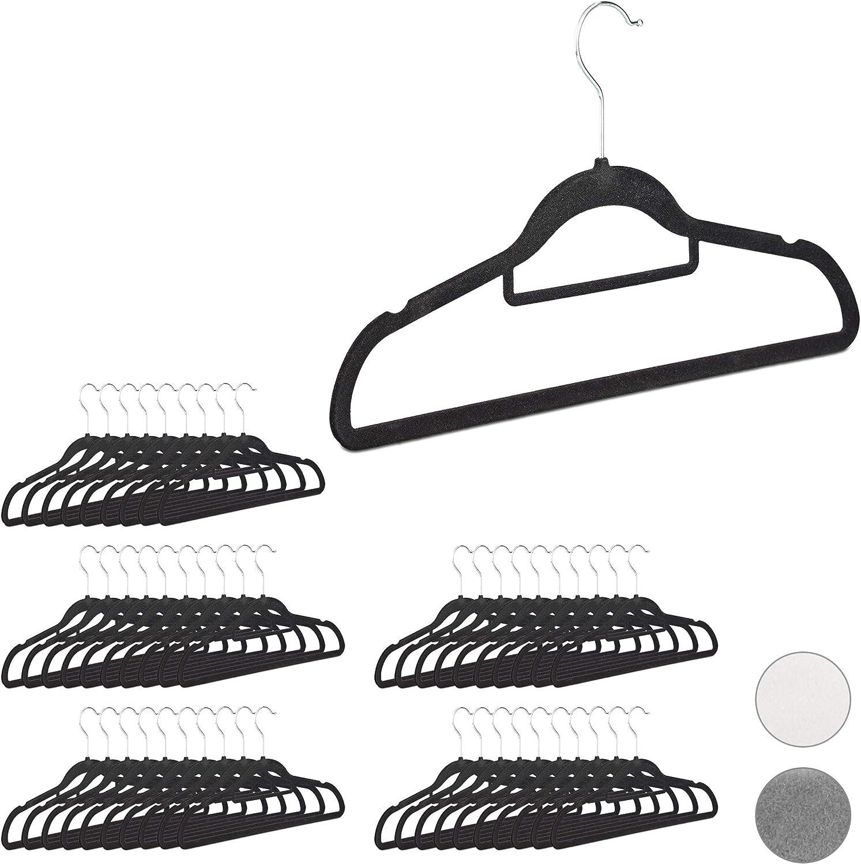 Perchas Ropa Antideslizantes con Corbatero Pack de 50 Unidades 22 x 41,5 x 0,3 cm Blanco Relaxdays Metal-Terciopelo