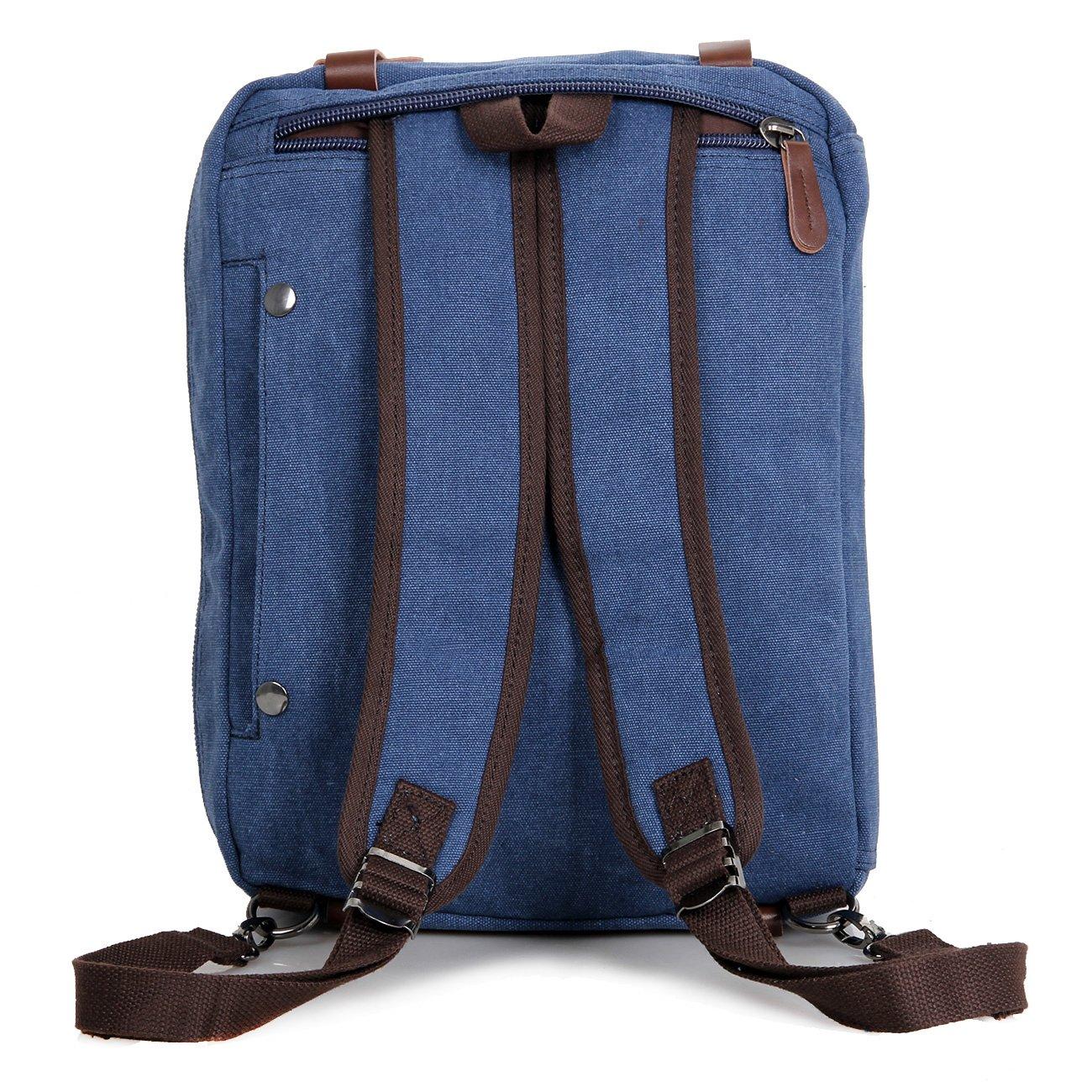 Clean Vintage Laptop Bag Hybrid Backpack Messenger Bag/Convertible Briefcase Backpack Satchel for Men Women- BookBag Rucksack Daypack-Waxed Canvas Leather, Blue by Clean Vintage (Image #2)