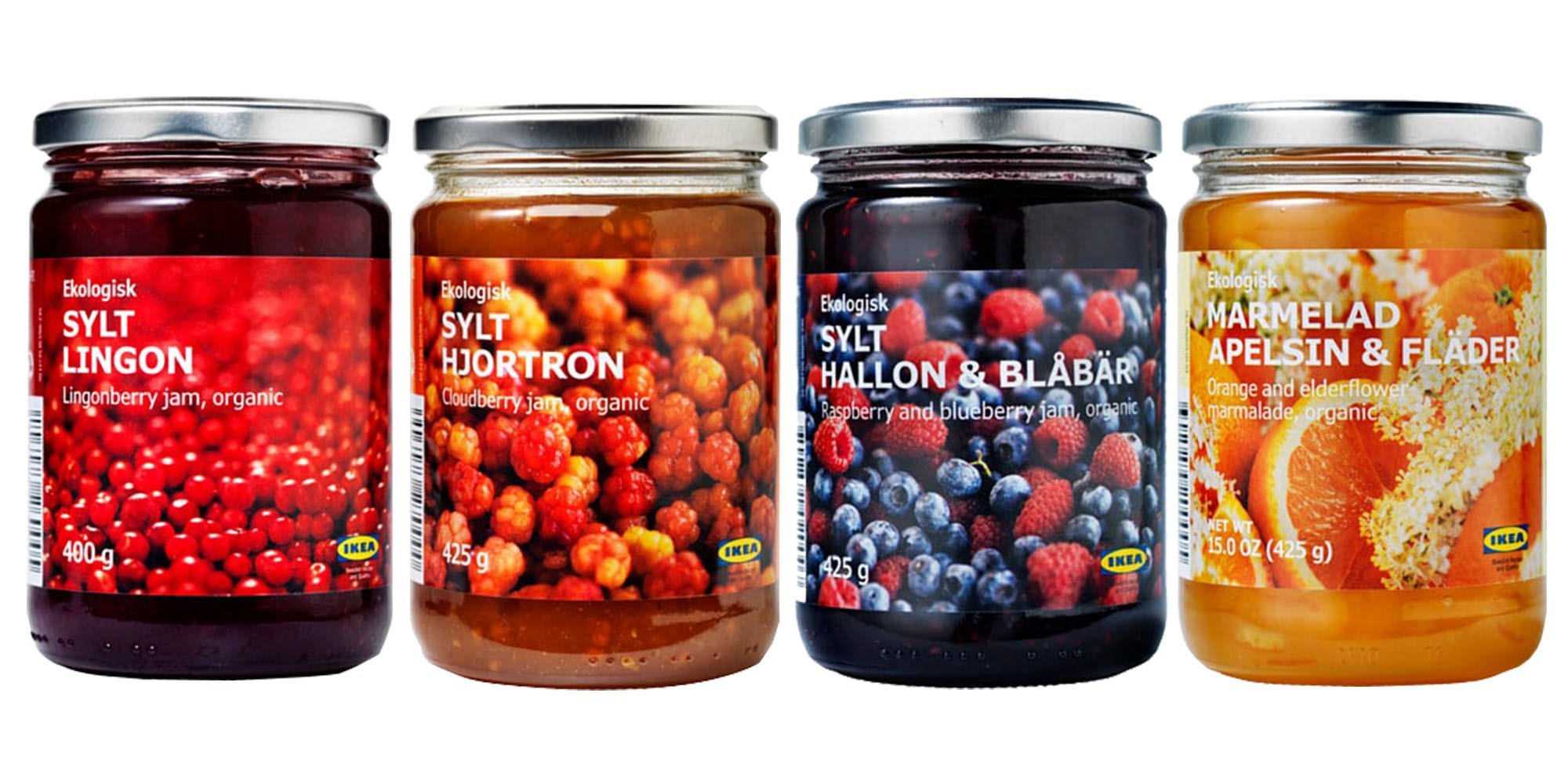 Ikea Organic Jam Bundle - Includes Total 4 Preserves - 1 Lingonberry Organic Preserve, 1 Raspberry & blueberry organic jam, 1 Cloudberry jam and 1 Orange-elderflower organic marmalade