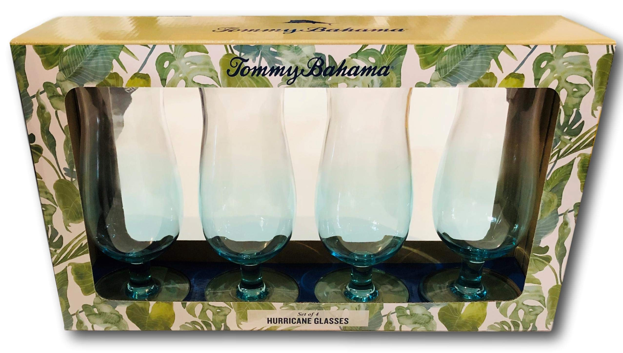 Tommy Bahama Blue Acrylic Hurricane Glass Cup (set of 4)