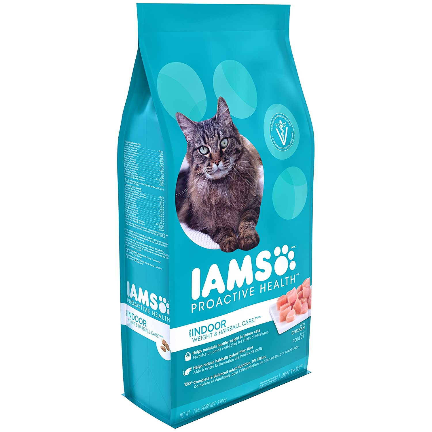 Iams Proactive Health Indoor Weight And Hairball Care Dry Cat Food, (1) 7 Pound Bag, Real Chicken In Every Bite