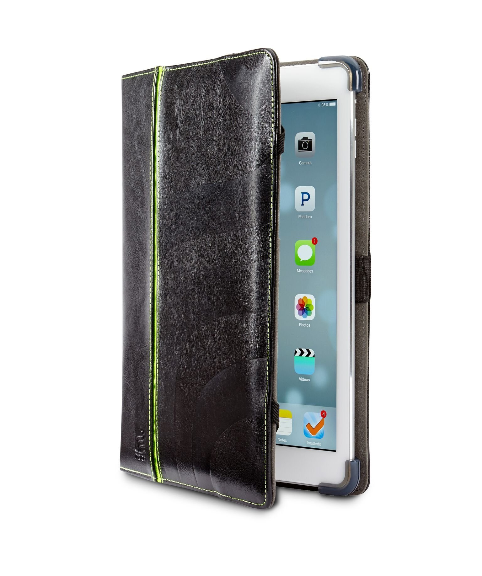 Maroo iPad Air Case - Black Leather Folio with a Maroo Green Stripe for a Professional Case with a Bright Twist, SG Bumper Technology for Ultimate Protection, Folding Front Cover for Viewing and Typing Angles