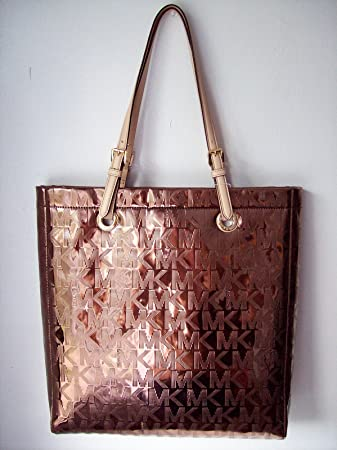 f504a7ebec Amazon.com   Michael Kors Jet Set Item MK Signature Mirror Metallic Item  North South Tote 38T1CTTT3Z   The STAR Products (Cocoa)   Beauty