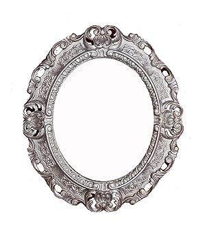 Espejo De Pared Plata Envejecida Ovalado 45 X 38cm Barroca Antiguo Reproducción Muebles Antiguos Y Decoración Espejos
