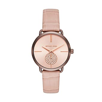 c7acd61f9df0 Michael Kors Women s Portia Stainless Steel Analog-Quartz Watch with Leather  Calfskin Strap