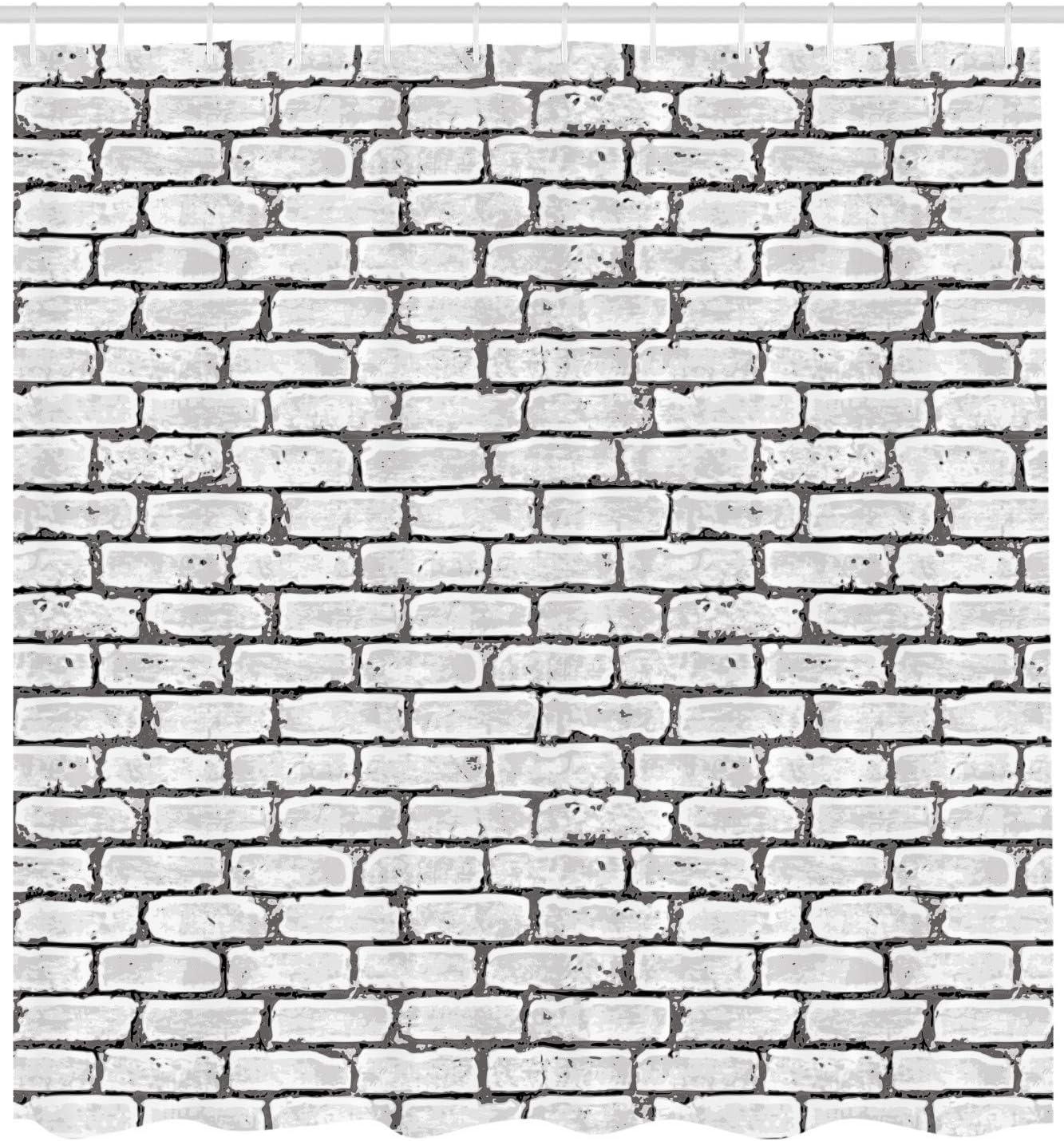 ABAKUHAUS Antiguo Cortina de Ba/ño Cap/ítulo en la Pared de ladrillo Vieja Material Resistente al Agua Durable Estampa Digital Naranja Oscuro Marr/ón Blanco 175 x 180 cm