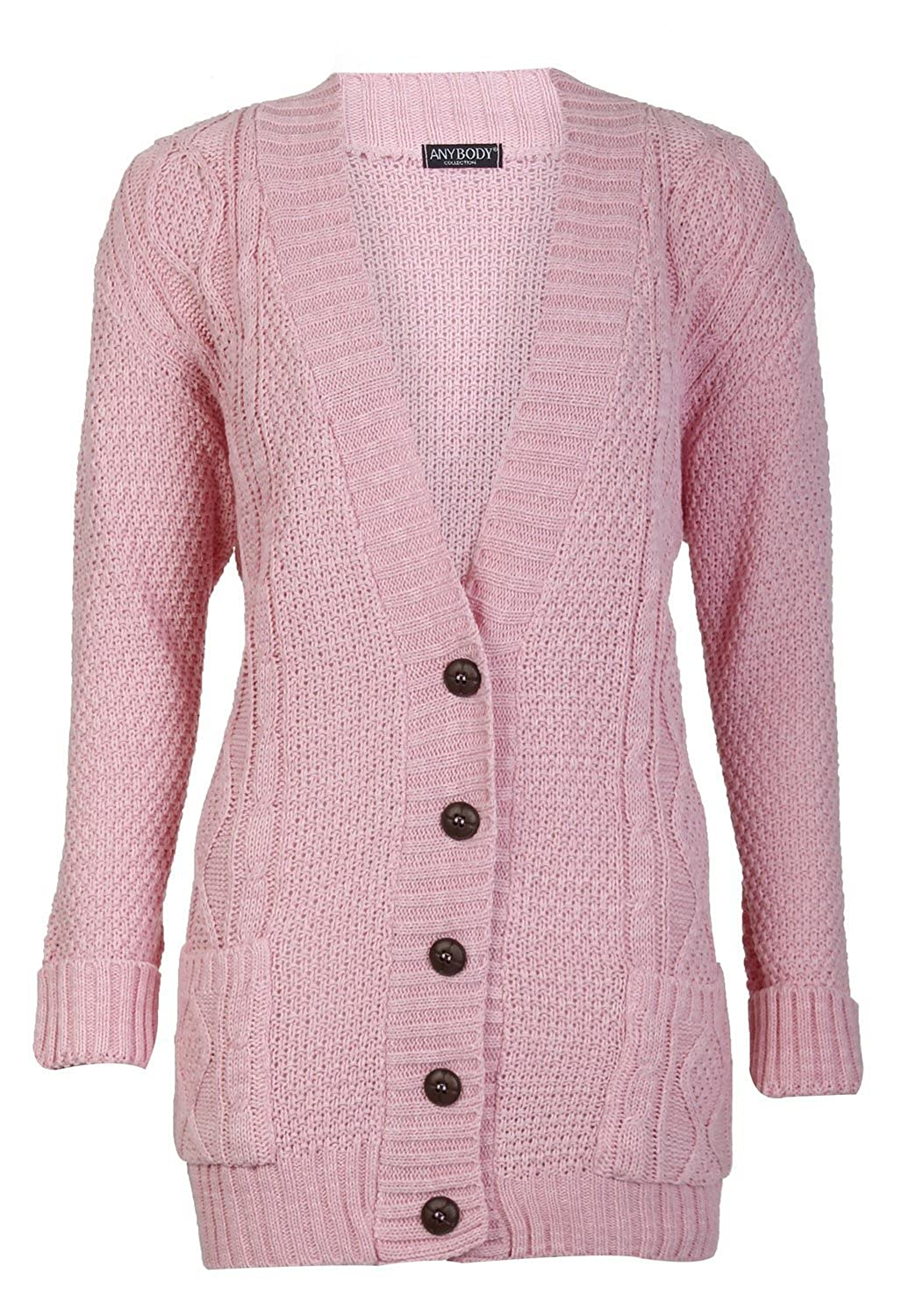 Forever Womens Long Sleeves Plus Size Cable Knitted Grandad Button ...