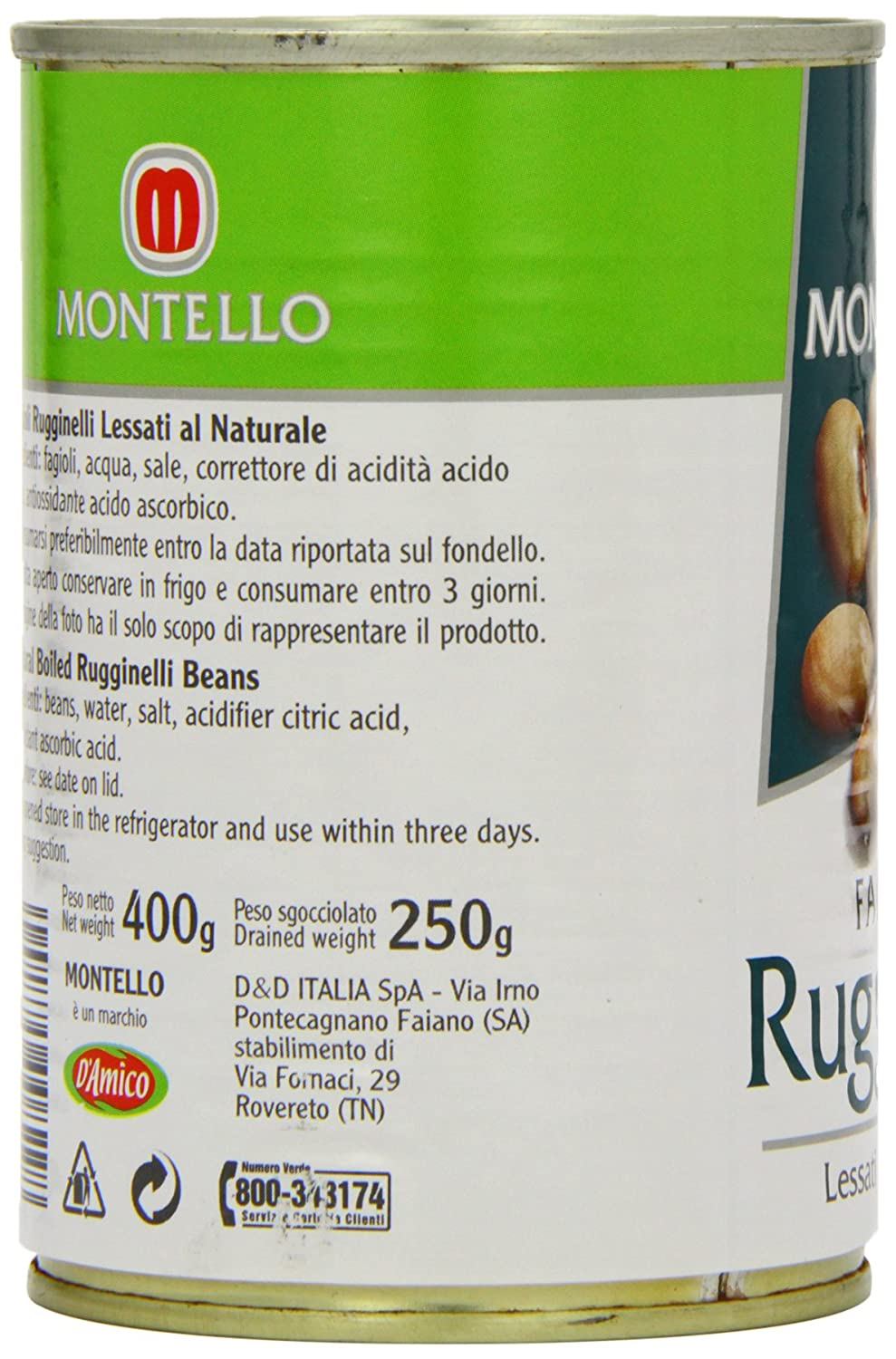 competitive price 53f00 35f73 D'Amico Montello Ruginelli Beans 400 g (Pack of 12): Amazon ...