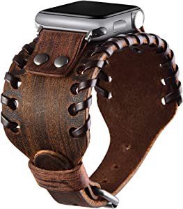 VIQIV Wide Cuff Bracelet Leather Band Compatible with Apple Watch 38mm 40mm 42mm 44mm Sports Watches for Men Women, Unisex Retro Replacement Wrist Strap for iWatch Series SE 6/5/4/3/2/1