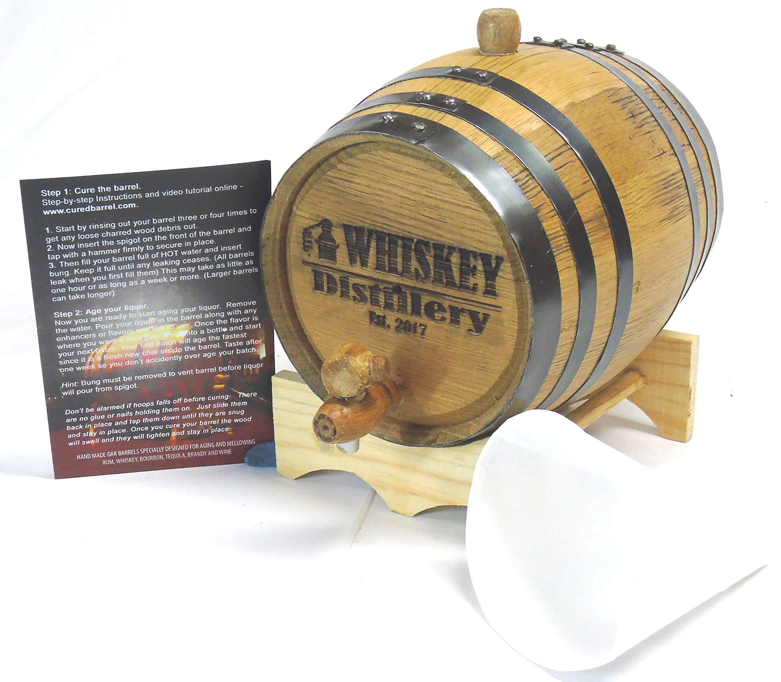Engraved 2 Liter Charred American White Oak Aging Barrel (Whiskey Distillery)