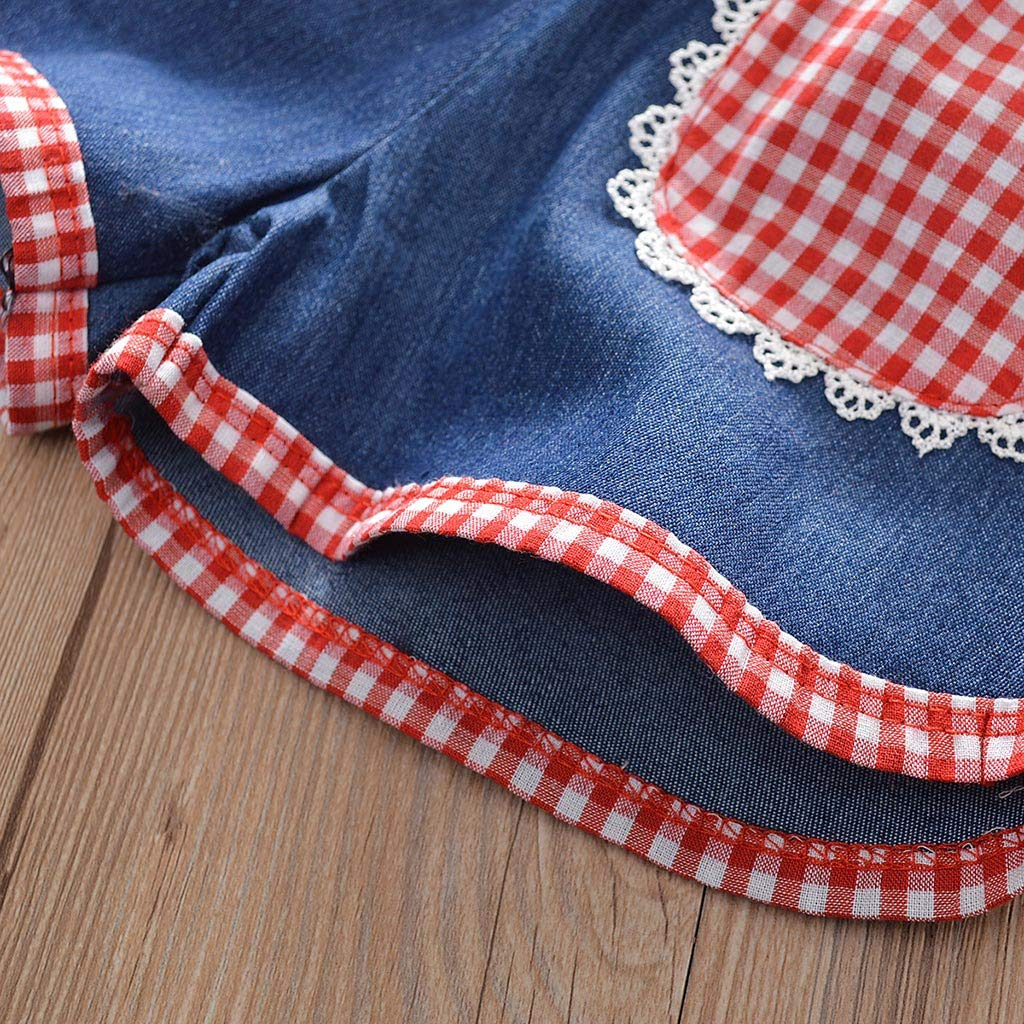 Toddler Kids Baby Girls Outfits Clothes Plaid Vest Tops+Denim Shorts Pants Set