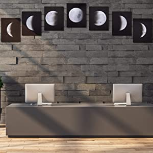 Irenare 7 Pieces Moon Phase Wall Art Painting Modern Giclee Fabric Prints Artwork Abstract Space Black and White Pictures Unframed Wall Art Photo Paintings for Home Office Decoration Wall Decor