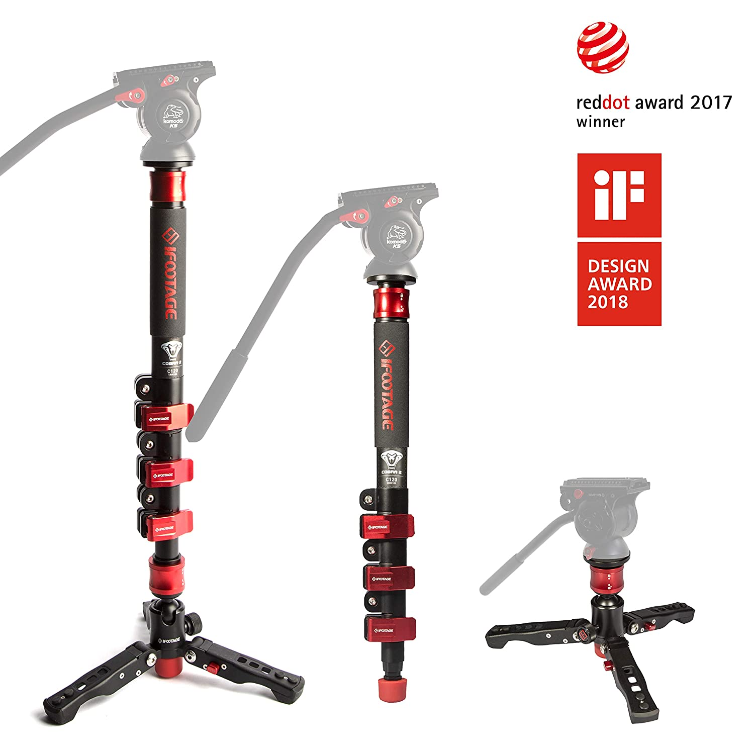 IFOOTAGE Carbon Fiber Video Monopod 4 Section with Tripod Feet Compatible for DSLR Camera Camcorder