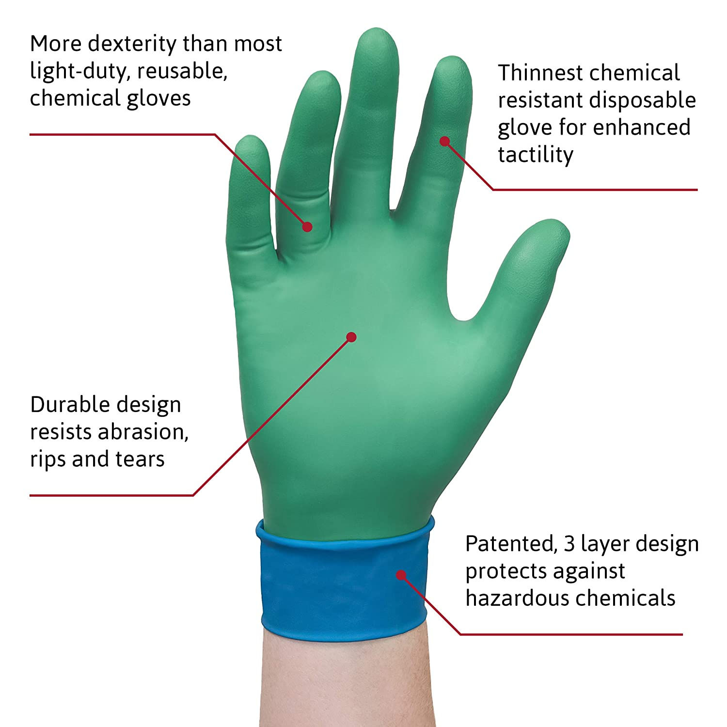 Size M Chemical Resistant Ansell Microflex 93-260 Disposable Gloves Mechanics and DIY use 6 Units Industrial Nitrile//Neoprene 7.5-8 Green