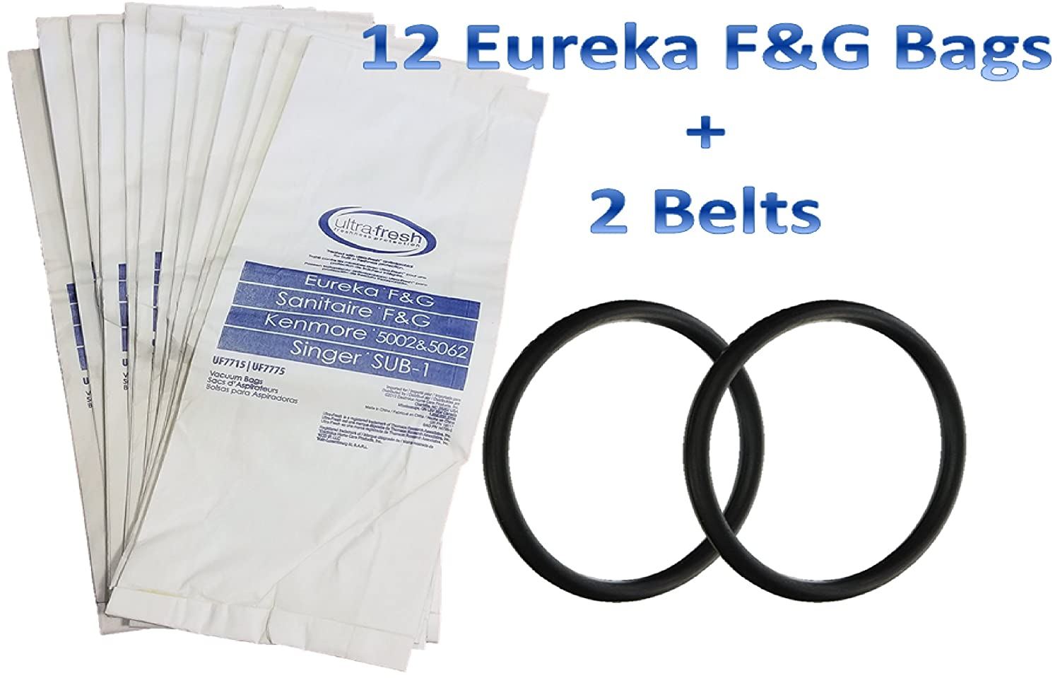 12 Bags for Eureka Style F&G Vacuum Cleaner F G Sanitaire Commercial + 2 Belts