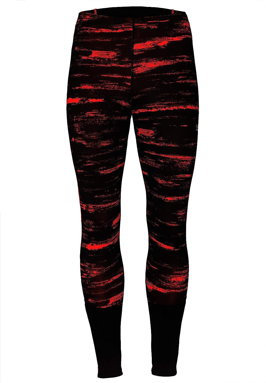 TAO Sportswear, Pulse Collant pour brossé Collant de Course Thermique Hiver Long avec Inscription et doublés Motif Zip de Poche, Noir/Rouge