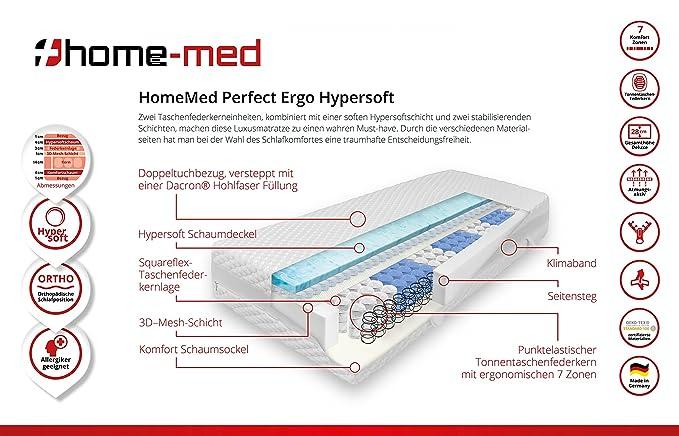 Premium de calidad Colchón de espuma fría homemed Perfect Hyper Soft 180 x 200 cm en H2 de fabricación alemana, con Premium de calidad Colchón de espuma ...