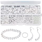 AIEX 900+ Pieces Crystal Beads Kit, Rondelle Faceted Glass Beads Clear Crystal Beads Assorted Supplies for Jewelry…