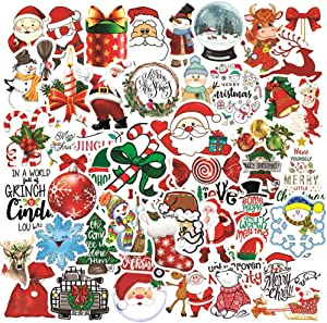 Merry Christmas Stickers for Water Bottles Laptop Luggage Cup Mobile Phone Skateboard Decals (50 Pcs)