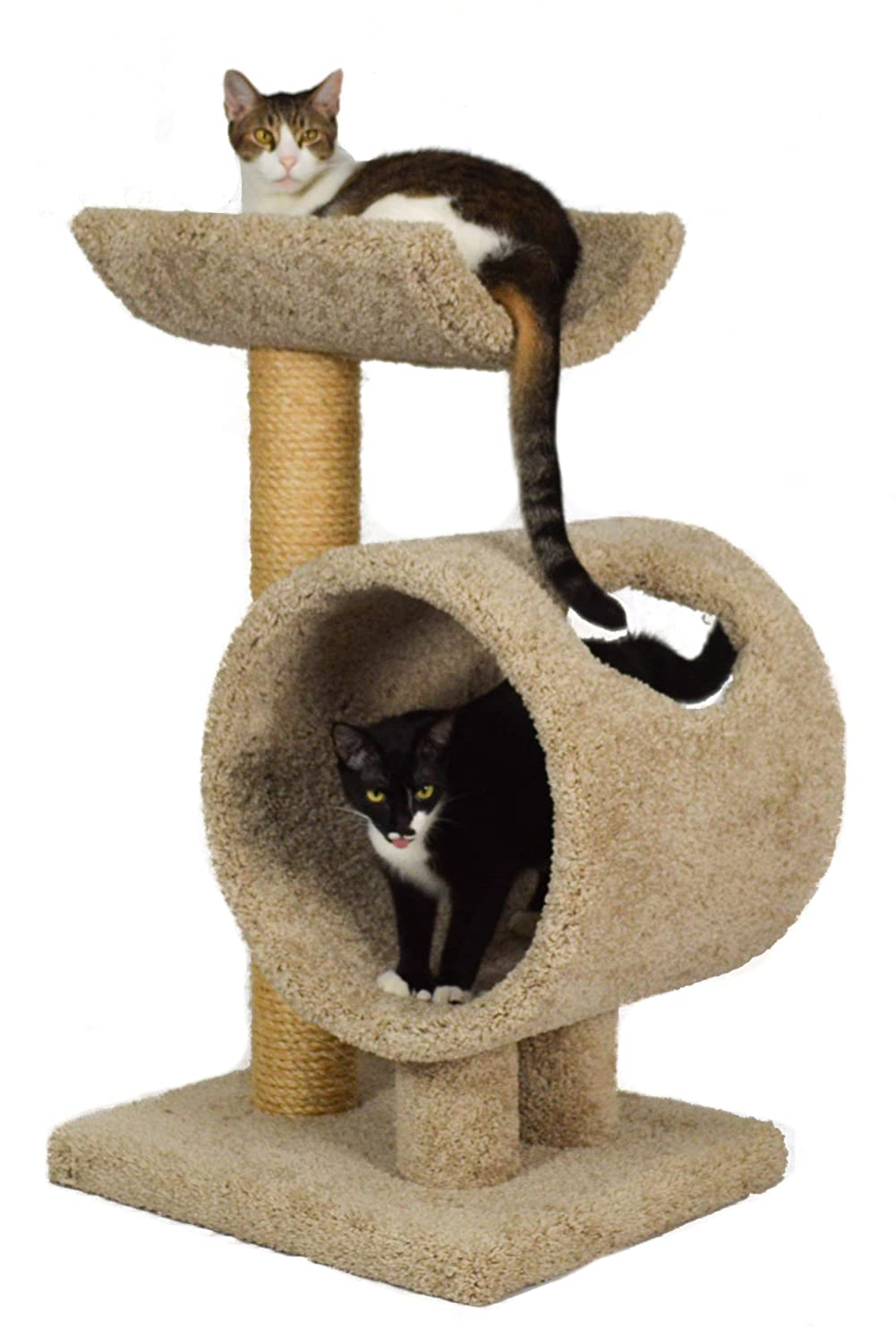 Beige Molly and Friends Loft and Round, Two-Tier Cat Furniture, Beige