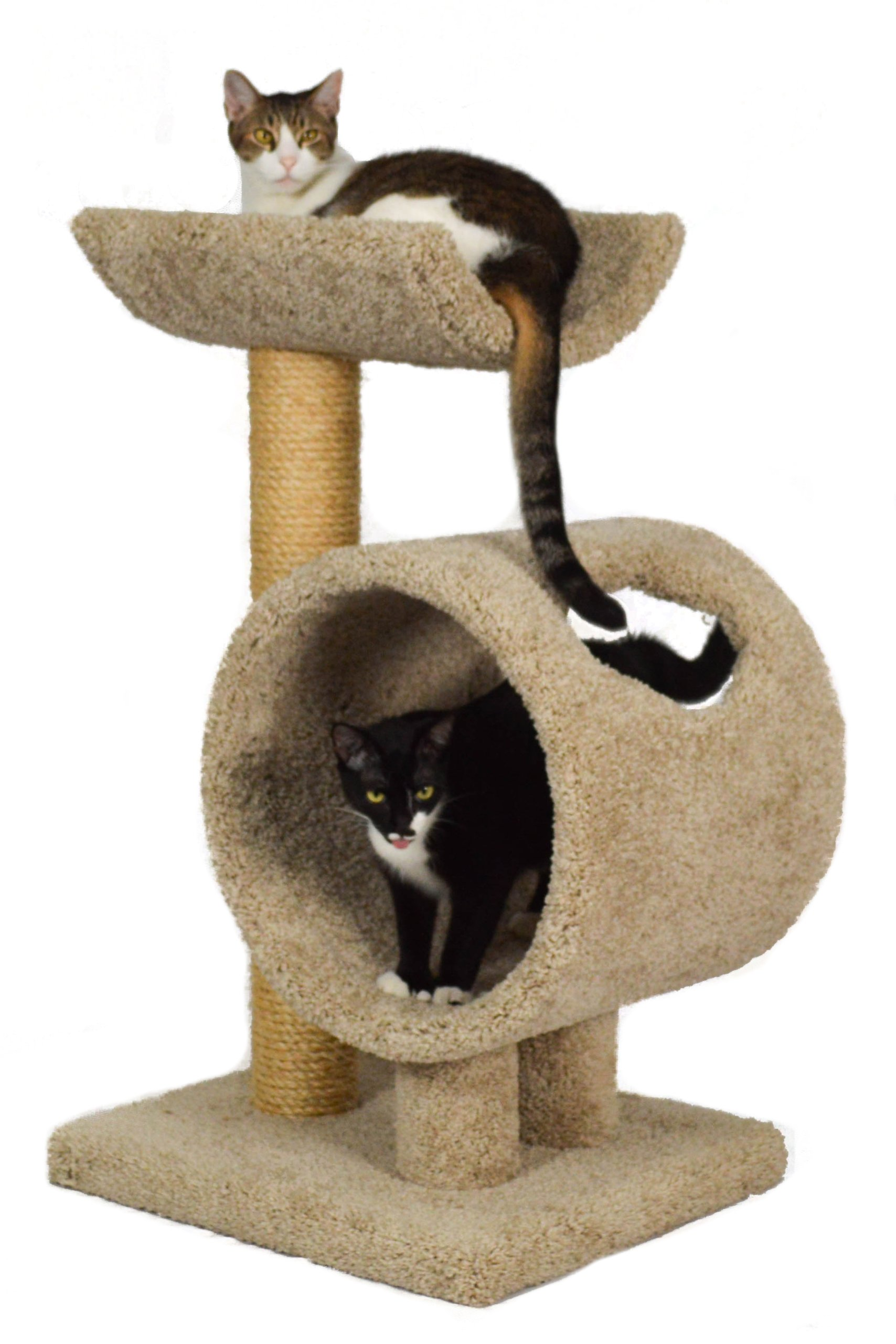 Molly and Friends ''Loft and Round'' Premium Handmade 2-Tier Cat Tree with Sisal, Model 34, Beige
