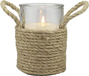 Stonebriar Nautical Rope Wrapped Pillar Candle Holder with Rope Handles, Coastal Home Decor, Decorative Piece for Living Room, Dining Room, Bathroom, and Bedroom, Tall