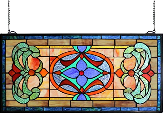 """Stained Glass Vintage Victorian Design Window Panel   16/"""" Wide x 24/"""" Tall"""